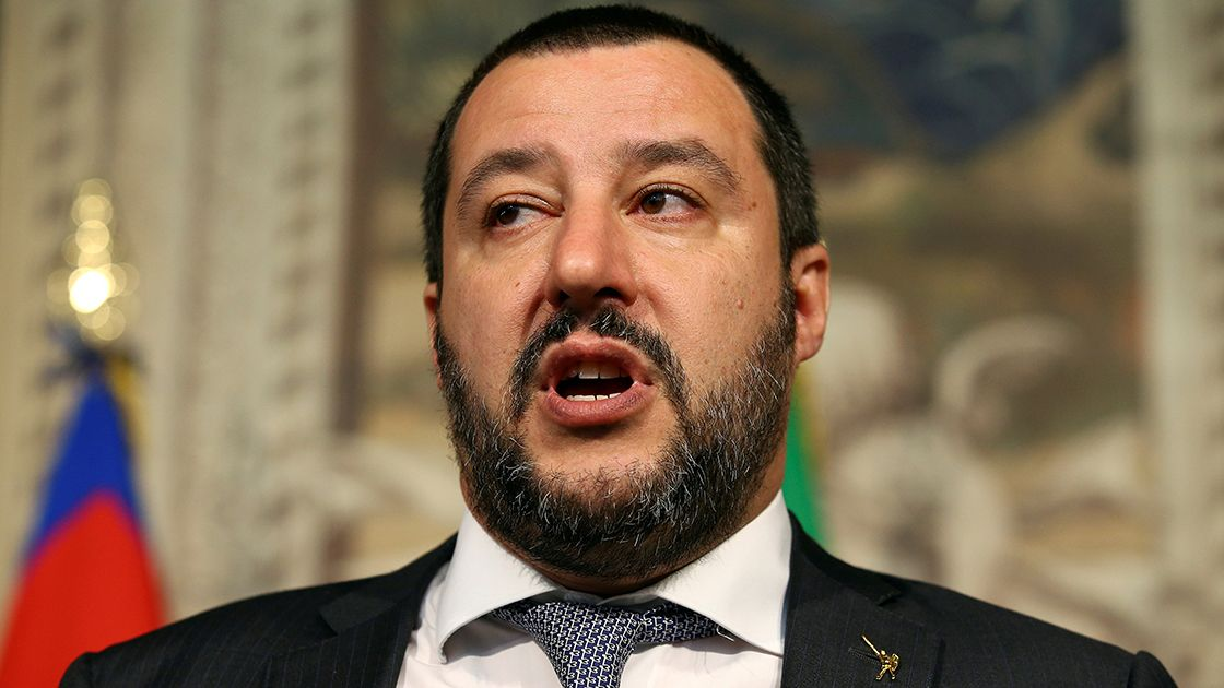 FILE PHOTO: League party leader Matteo Salvini speaks to the media during the second day of consultations with Italian President Sergio Mattarella at the Quirinal Palace in Rome - FILE PHOTO: League party leader Matteo Salvini speaks to the media during the second day of consultations with Italian President Sergio Mattarella at the Quirinal Palace in Rome, Italy, April 5, 2018.  REUTERS/Alessandro Bianchi/File Photo - NARCH/NARCH30